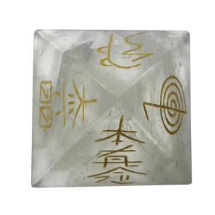 Satyamani Natural Clear Quartz Reiki Symbol Pyramid 45 mm.