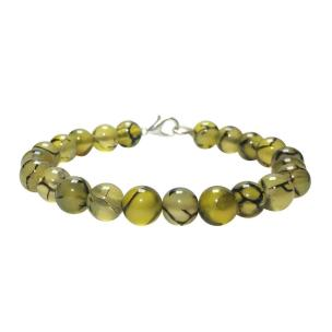 Satyamani Natural Dragon Vein Agate Beads Bracelet with Hook