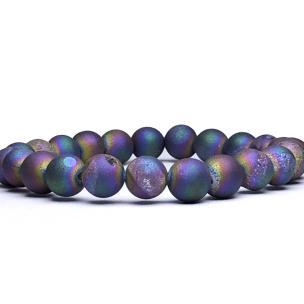 Satyamani Natural Druzy Agate Beads Bracelet