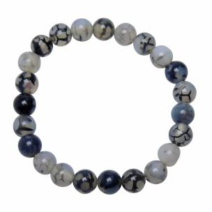 Satyamani Natural Dyed Black Dragon Vein Agate 8 mm Bead Stone Bracelet