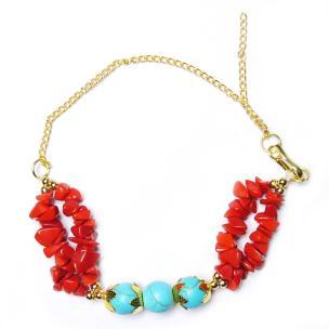 Satyamani Energized Heat Processed Red Coral Monga & Firoza  Beads Designer Rakhi(Pack of 1 pc)
