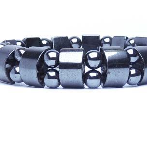 Satyamani Natural Energized Magnetite Flat & Bead Bracelet