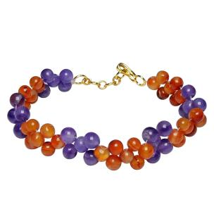 Satyamani Natural Energized Amethyst & Carnelian Designer Band Rakhi for Kids with Roli Chawal