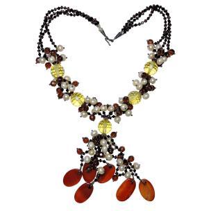 Satyamani Natural Garnet, Pearl, Carnelian & Citrine Necklace, Designer Necklace