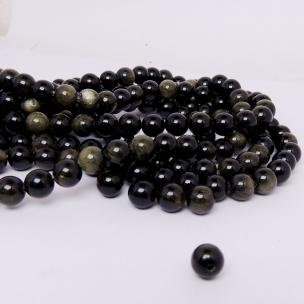 Satyamani Natural Golden Black Obsidian 8 mm beads