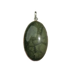 Satyamani Natural Green Agate Oval Pendant