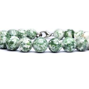 Satyamani Natural Green Spot Jasper Beads Bracelet with Hook