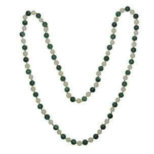 Satyamani Natural Jade and Yellow Agate Semi-precious Stone Necklace for Positivity