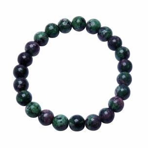 Satyamani Natural Ruby Zoisite 8 mm Beads Bracelet