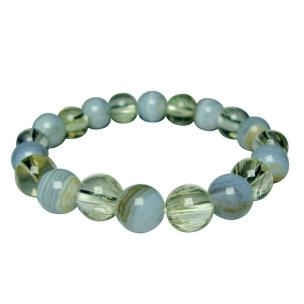Satyamani Natural Energized  Rutile & Blue Lace Agate Bracelet For Aura Cleanses & Enhancer