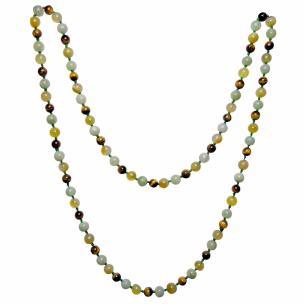 Satyamani Natural Tiger Eye, Green Aventurine & Yellow Agate Necklace