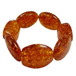 Satyamani Synthetic Amber Oval Faceted Tumble Bracelet