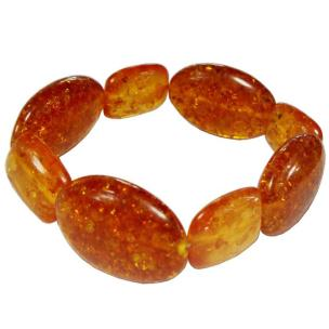 Satyamani Synthetic Amber Square and Oval Tumble Bracelet