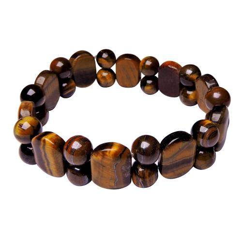 Satyamani Tiger Eye Oval Bracelet with Beads (Pack of 1Pc)