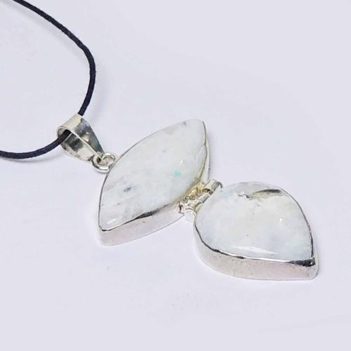 Satyamani Natural Rainbow Moonstone Designer Double Pendant