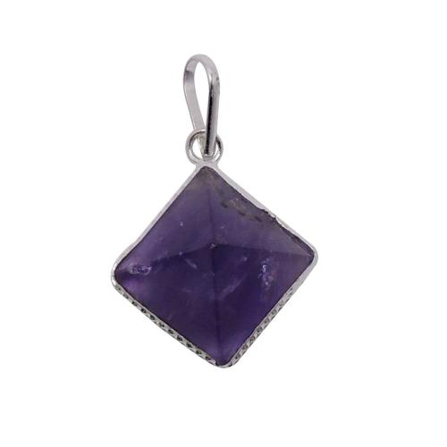 Satyamani Natural Energized Amethyst Pyramid Pendant for Healing of body, Mind & Soul