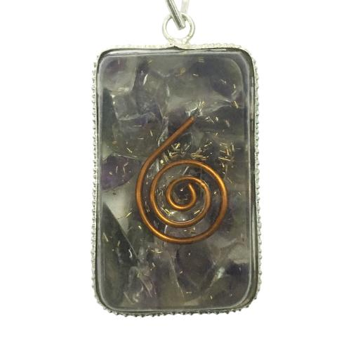 Satyamani Natural Energised Orgonite Amethyst with copper wire pendant