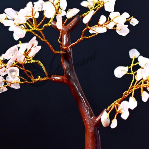 Satyamani Natural Energized Rose Quartz Small M-Seal Crystal Tree (100 Dana)