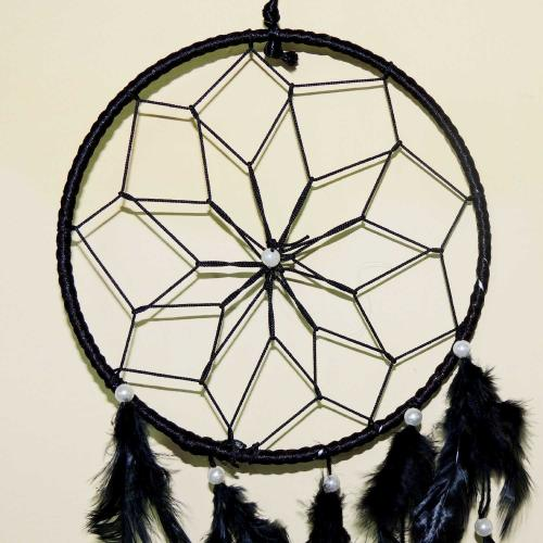 Satyamani Handmade Black Color Dream Catcher for Home/Office/Shop (45 cm x 15 cm) (Pack of 2)
