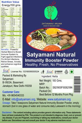 Satyamani Organic Herbal Immunity Booster Powder/Infection/Digestion/Healthy/Fresh/No Preservative