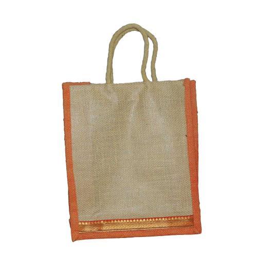 Eco Friendly Shoulder Shopping Carry Beige & Orange Jute Bag (Pack of 2 Bags)