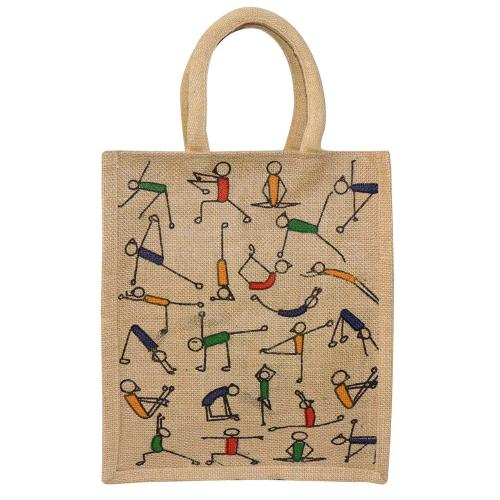 Eco Friendly Yoga Print Reusable Shoulder Shopping Carry Bag  (Pack of 2 Bags)