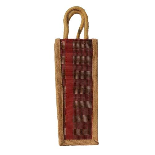 Eco Friendly Tan and Beige Reusable Jute Shoulder Shopping Carry Bag (Pack of 2 Bags)
