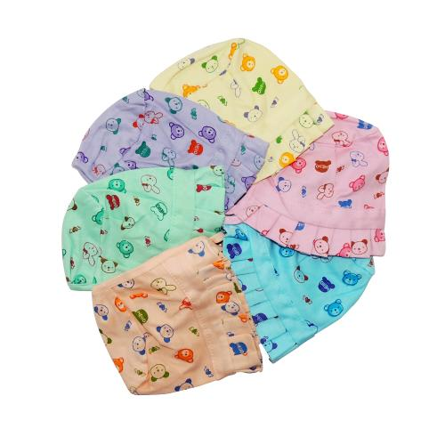 Life Begin with Satyamani Baby Deluxe Cap Printed Small (3 to 6 months) size (Pack of 6)