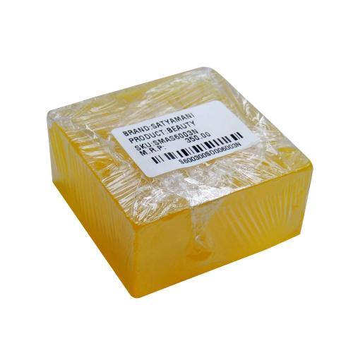 Satyamani Handmade Pure Herbal Glycerin Lemon Quartz Crystal Inclusion Square Lemon color Soap