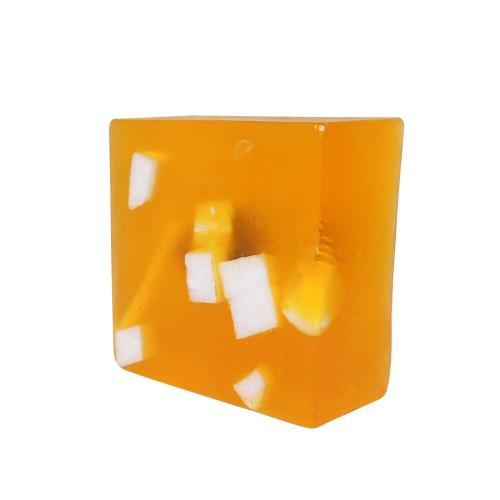 Exclusive Handmade Pure Herbal Glycerin Obsidian Crystal with Butter chunks Orange color Soap Bar