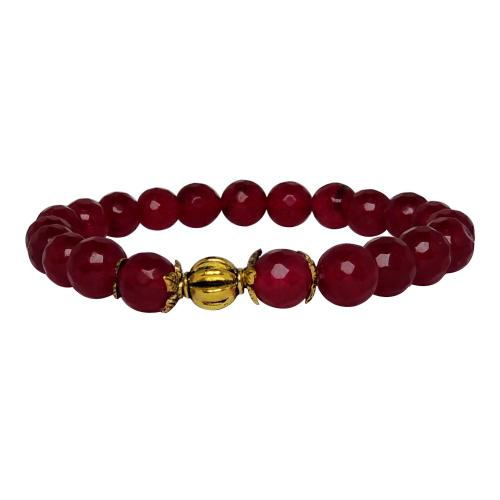 Satyamani Heat Processed Ruby 8 mm Bead Bracelet Designer 2 Color: Red, For Unisex
