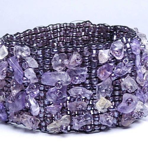 Satyamani Natural Amethyst Chips Bracelet (Pack of 1Pc)