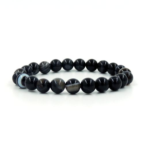 Satyamani Natural Black Sulemani Agate Bead Bracelet (8 mm)