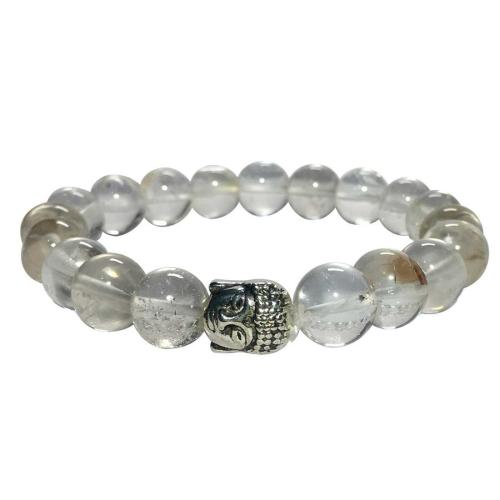 Satyamani Natural Clear Quartz Buddha Bracelet (Pack of 1Pc)