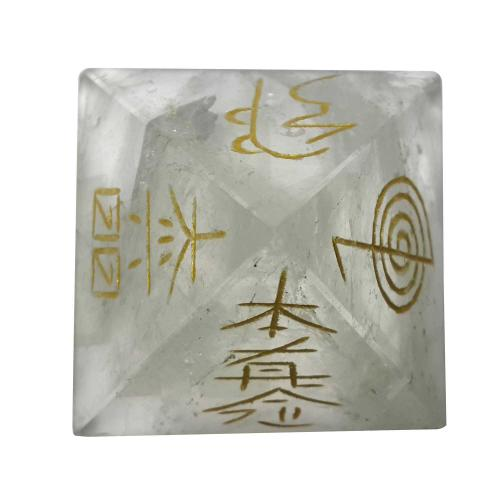 Satyamani Natural Clear Quartz Reiki Symbol Pyramid 45 mm.