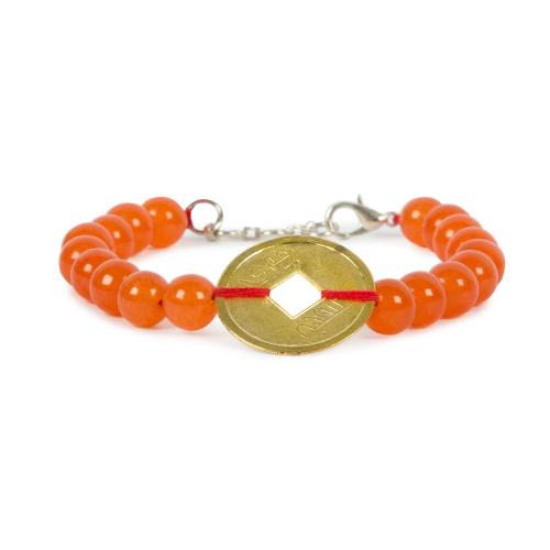 Satyamani Natural Carnelian with Coin Bracelet For Confidance & Promotes Positive Life