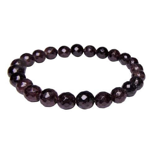 Satyamani Natural Garnet Faceted Bead Bracelet For Build Self-confidence & Good Luck