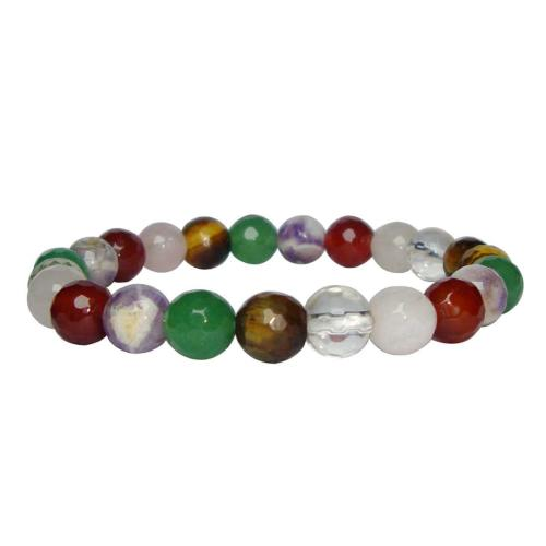 Satyamani Natural Genuine Multi-Crystal Faceted Bead Bracelet For Success, Luck & Crown Chakra
