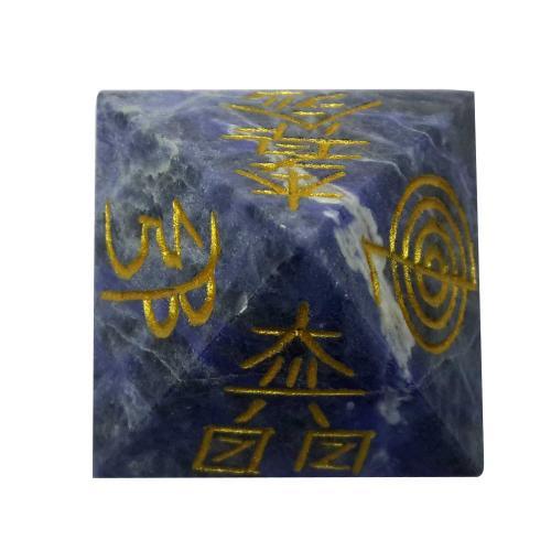 Satyamani Natural Sodalite Reiki Symbol Pyramid 35 mm.