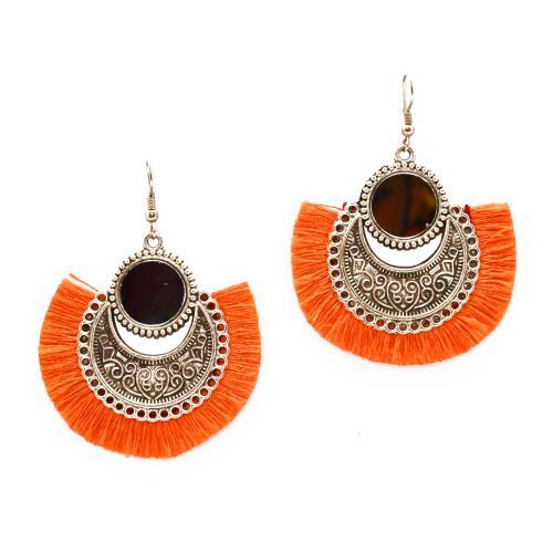 Satyamani  Oxidized Earring with Mirror & Orange Thread Party Wear With AMETHYST MSEAL TREE-60 DANA