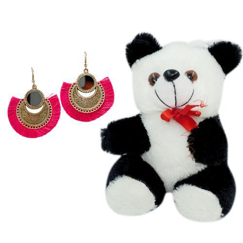 Satyamani  Oxidized Earring with Mirror & Pink Thread Party Wear Naughty Black & White Panda