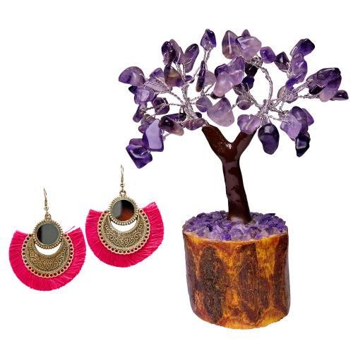 Satyamani  Oxidized Earring with Mirror & Pink Thread Party Wear With AMETHYST MSEAL TREE-60 DANA