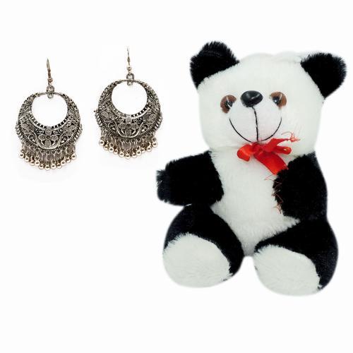 Satyamani  Oxidized Hoop Dangler Earring Party Wear Naughty Black & White Panda