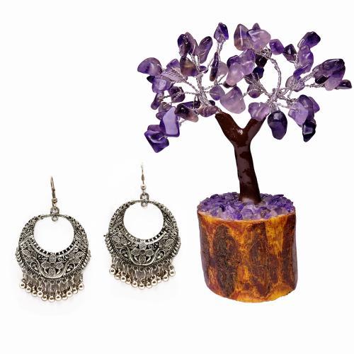 Satyamani  Oxidized Hoop Dangler Earring Party Wear With AMETHYST MSEAL TREE-60 DANA