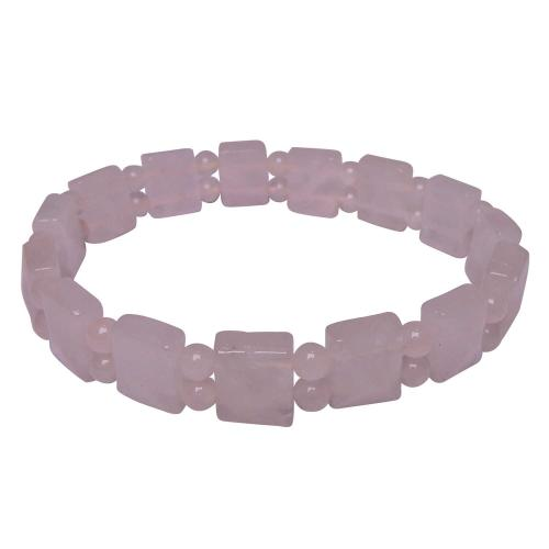 Satyamani Rose Quartz Pyramid Beads Bracelet (Pack of 1Pc)