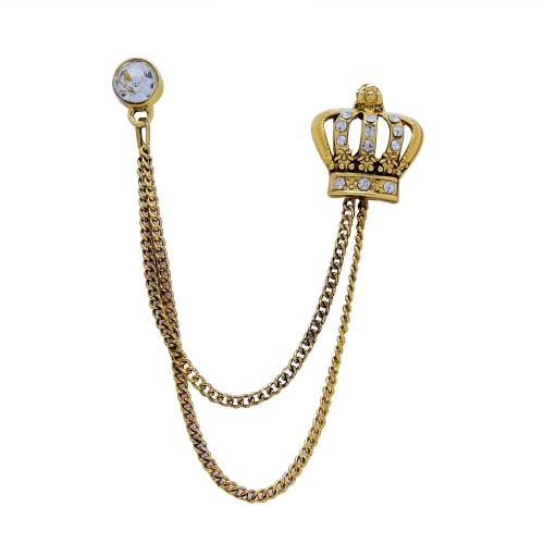 Satyamani Small Crown with Semi-Precious Cubic Zirconia Brooch