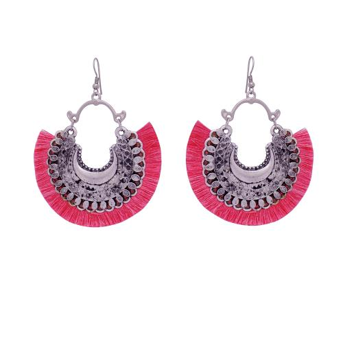 Satyamani Women's Oxidized Crescent Moon Earring with Rouge Thread Party Wear