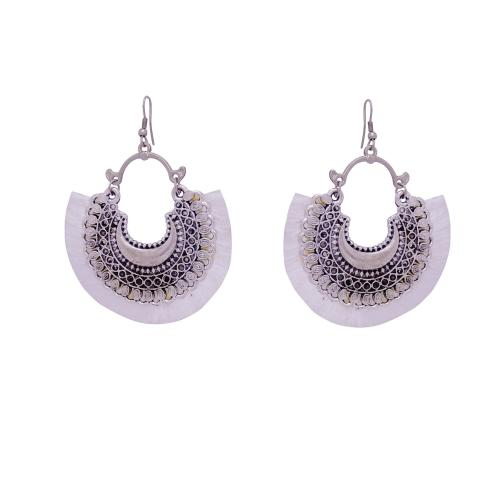 Satyamani Women's Oxidized Crescent Moon Earring with Silver Thread Party Wear