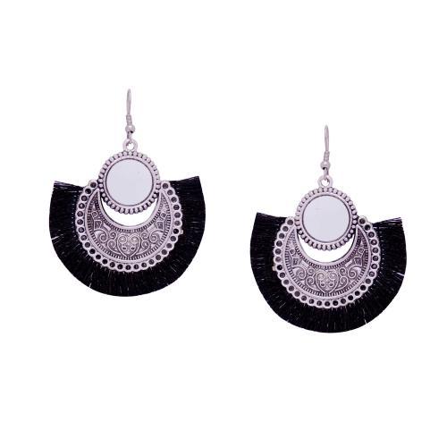 Satyamani Women's Oxidized Earring with Mirror & Black Thread Party Wear