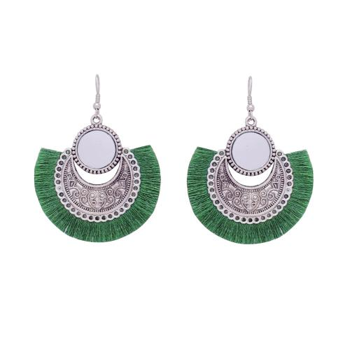 Satyamani Women's Oxidized Earring with Mirror & Green Thread Party Wear
